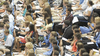 Members of the second-largest freshman class in the history of Duquesne University attend their annual Matriculation Ceremony at the A.J. Palumbo center last week.