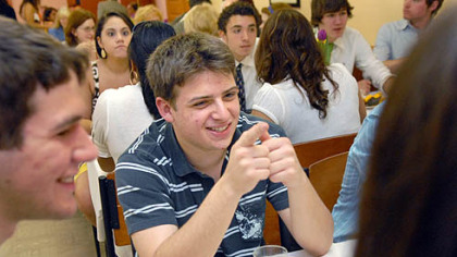 Jeremy Ernstoff sits with his friends during a senior luncheon at Winchester Thurston school in Shadyside. Their graduation day was Sunday. Jeremy, who wrote an essay about having Asperger's syndrome, plans to attend college in the fall.