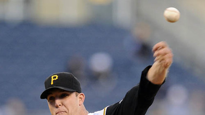 Starter Paul Maholm pitched 6 1/3 innings, giving up four runs on nine hits against the Brewers last night at PNC Park.