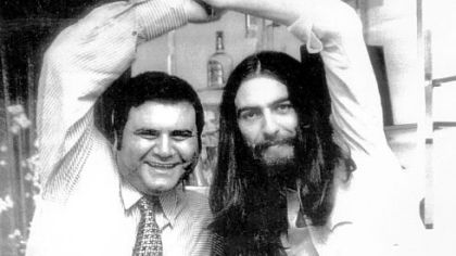 "When the Beatles split, Pete Bennett, left, worked on their various solo careers. He helped George Harrison, right, with his 1972 ""Concert for Bangladesh."""