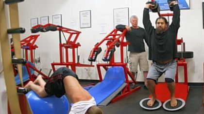 Trainer Marv Marinovich works out Steelers safety Troy Polamalu at the Sports Lab training facility in Orange County, Calif.