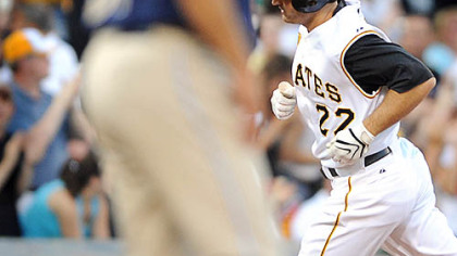 Xavier Nady rounds the bases after hitting one of the Pirates' three home runs last night against the Padres.