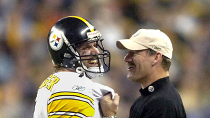 Roethlisberger shares a moment with coach Bill Cowher in the closing seconds of Super Bowl XL. (Feb. 9, 2006)