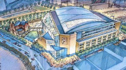In March 2007, Pittsburgh got its first look at the new arena in a bird's-eye view of the barrel-vault stadium. Since this drawing, the atrium side of the building, facing Epiphany Church, has changed considerably.