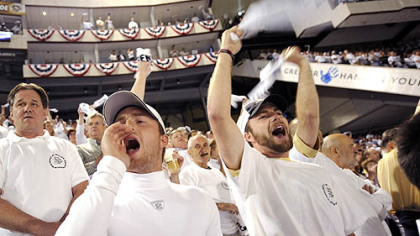 Penguins fans cheer for their team as they take on the Red Wings in the Stanley Cup Finals Wednesday night.