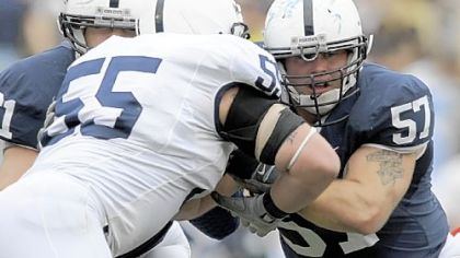 Penn State&#039;s A.Q. Shipley (57) moved from nose guard to center.