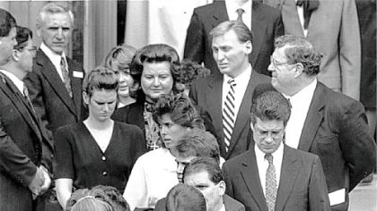 The family gathers for the funeral of Art Rooney in 1988 at St. Peter Church on the North Side.