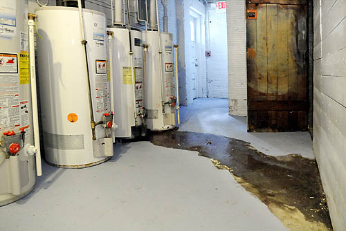 The floor of the storage room in the apartment building at 1401 Mervin ...