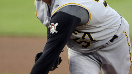 Pittsburgh Pirates' Zach Duke pitches to the Washington Nationals during the first inning of an MLB baseball game, Thursday in Washington.