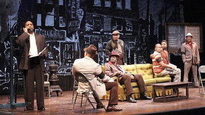"Kennedy Center production of August Wilson's ""Jitney.""  (l-r) Hassan El-Amin as Booster, John Beasley as Turnbo, Afemo Omilami as Shealy, Eugene Lee as Doub, Anthony Mackie as Youngblood, Roslyn Ruff as Rena, Montae Russell as Philmore."