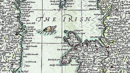 An ancient map shows the Welsh coast and border with England.