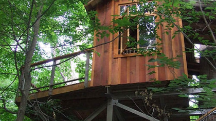The western red cedar Birdhouse treehouse at Longwood Gardens was built from logs found ins southeast Alaska. Just 255 square feet, it's the smallest of the three structures.