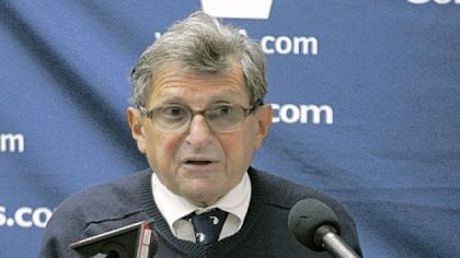 Paterno talks to reporters Saturday after the Purdue game.