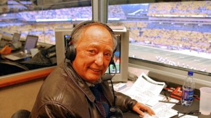 Myron Cope works the Steelers game against the New York Jets at Heinz Field on Dec. 12, 2004.