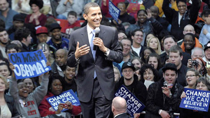 Sen. Barack Obama, D-Ill., campaigns in front of a capacity crowd at Youngstown State University's Beeghly Center yesterday.