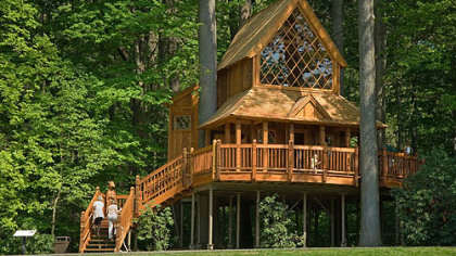 The Canopy Cathedral treehouse at Longwood Gardens has a 118-square-foot balcony.