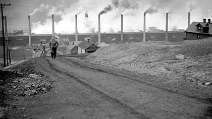 The Donora zinc works of American Steel & Wire Co. spew smoke at full blast in 1949.