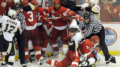 Fisticuffs broke out all around as the third period of Game 2 wound down last night at Joe Louis Arena in Detroit.