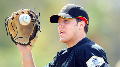 Pirates' Daniel Moskos during the first day of workouts for pitcher and catchers at Pirate City in Bradenton, Fla. yesterday.