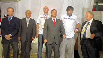 From left, IOC Coordination Commission Chairman for the Sochi winter 2014 Olympics Jean-Claude Killy,  Chiharu Igaya of the IOC Evaluation Commission for the Sochi winter games, CEO of the Sochi games Dmitry Chernyshenko, IIHF President Rene Fasel ,  professional hockey player Alexander Ovechkin, and Russian IOC member Vitaly Smirnov, are seen during a party at the Russia House in Beijing to promote the 2014 Winter Games in Sochi, Russia.