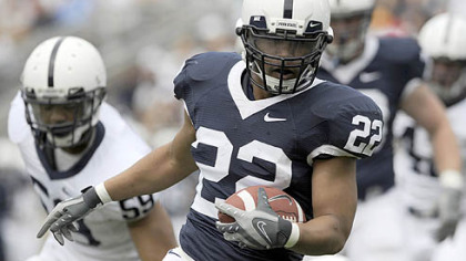 Evan Royster runs for a 4-yard touchdown Saturday in Penn State's Blue-White spring game.