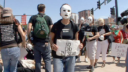 Lori Arbiter, of New York, takes part in the March of the Dead to protest the war in Iraq yesterday in Denver.