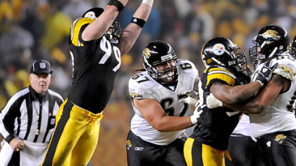 Defensive end Brett Keisel blocks a pass by David Garrard in the first quarter last night at Heinz Field. (vs. Jaguars 1/5/2008)