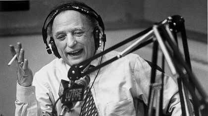 Myron Cope works his WTAE final radio show in 1995.