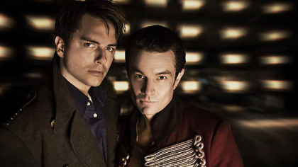 "Captain Jack Harkness (John Barrowman) and Captain John Hart (guest star James Marsters) on ""Torchwood."""