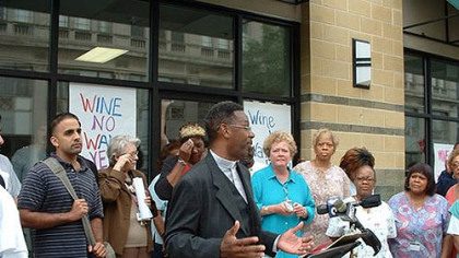 In 2004, the Rev. Jesse Brown speaks at a community march where neighbors protested the opening of a state liquor store in their north Philadelphia neighborhood. The store opened on a block with two churches, one of which has a day-care center.