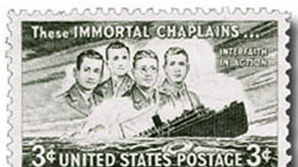 The United States issued a three-cent stamp honoring the four chaplains in 1948.