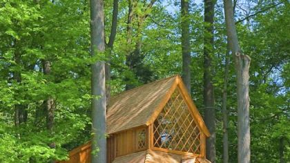 The Canopy Cathedral treehouse at Longwood Gardens was inspired by a Norwegian stave church.Its Douglas fir flooring was remilled from timbers in an old toothpaste factory in Canada.