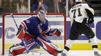 New York Rangers goal tender Henrik Lundqvist, of Sweden, blocks a penalty shot by Pittsburgh Penguins&#039; Evgeni Malkin, of Russia, in the second period during Game 4 of an NHL Eastern Conference semifinal hockey playoff series Thursday, May 1, 2008 at Madison Square Garden in New York.
