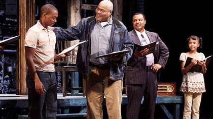 Anthony Mackie as Cory, Bill Nunn as Jim Bono, Montae Russell as Lyons, Autumn Malhotra as Raynell in 'Fences'