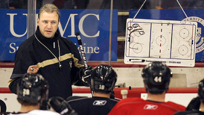 Penguins head coach Michel Therrien giving instruction during team workouts at the Mellon Arena.