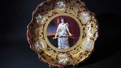 Lot No. 2293 A of the Vernon Regal auction is a Royal Vienna porcelain charger showing Old Testament figure Judith with a sword.