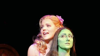 Katie Rose Clarke as Glinda and Carmen Cusack as Elphaba.
