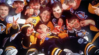 Jaromir Jagr, right, celebrates with the Penguins after winning the 1992 Stanley Cup.
