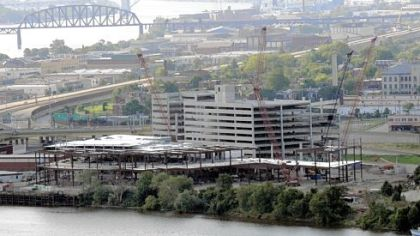 The Majestic Star casino and its parking garage have taken shape along the Ohio River, but no construction work was going on yesterday because of Don Barden's inability to pay his contractors.