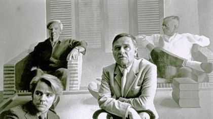 "Don Bachardy and Christopher Isherwood sitting in front of David Hockney`s famous 1968 double portrait in the documentary ""Chris & Don: A Love Story."""
