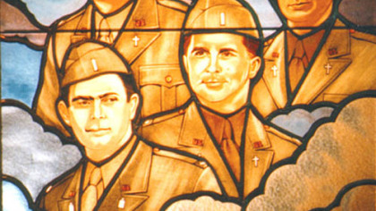 This stained-glass window at the Pentagon honors the four chaplains of the Dorchester.