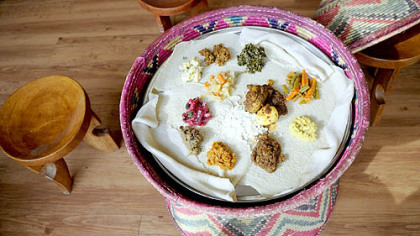 A typical platter at Tana Ethiopian Restaurant in East Liberty.