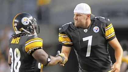 Ben Roethlisberger congratulates Cary Davis on a touchdown in the preseason. But should the congratulations be going the other way after Roethlisberger's offseason windfall?