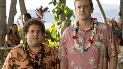 Matthew the waiter/aspiring musician (Jonah Hill, left) gives advice to struggling musician Peter Bretter (Jason Segel) &quot;Forgetting Sarah Marshall.&quot;