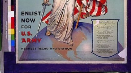 During World War I, Miss Columbia appeared in a 1916 military recruiting poster.