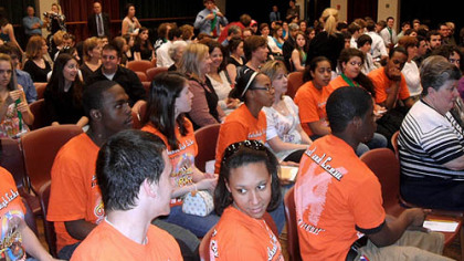 Some of those who gathered to hear this year's Kelly Awards nominations; the orange T-shirts are Schenley High School students.