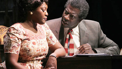 "Heather Alicia Simms as Berniece and Afemo Omilami as Avery in ""The Piano Lesson"" at Kennedy Center."