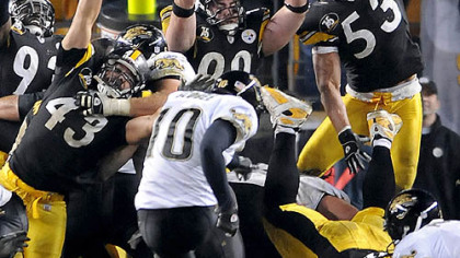 Josh Scobee kicks the go-ahead field goal with 37 seconds remaining in the game last night, spoiling a second-half comeback by the Steelers. (vs. Jaguars 1/5/2008)