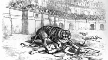 Thomas Nast's Tammany Tiger from Harper's Weekly, dated Nov. 11, 1871.