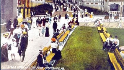Visitors to Luna Park, which opened in 1905, depicted in another vintage post card.